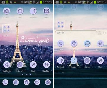 Скриншоты к Paris go launcher theme
